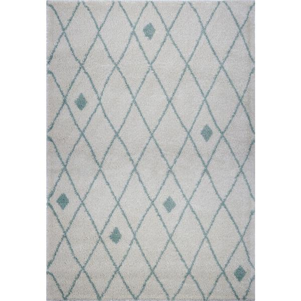 Tapis à treillis, 6,4' x 9,4', polypropylène, ivoire/vert