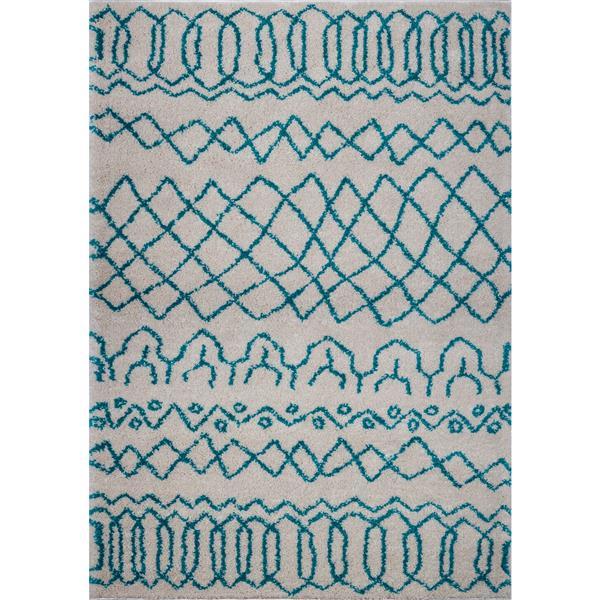 Tapis, 6,4' x 9,4', polypropylène, ivoire/turquoise