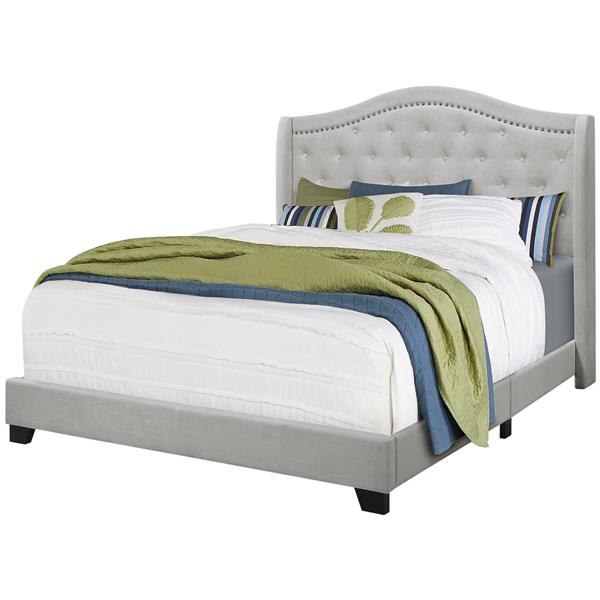 Monarch Bed Light Grey Velvet with Chrome Trim - Queen Size