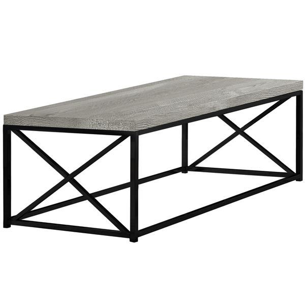 """Table de salon, Faux bois gris et métal noir, 44"""""""