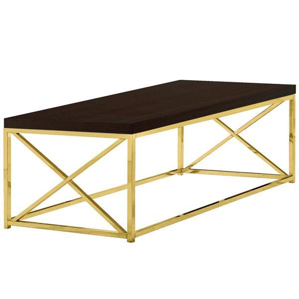 """Table de salon, faux bois cappuccino et métal or, 44"""""""