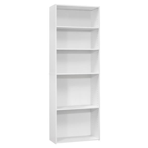 Monarch Bookcase with 5 Shelves - White -  72-in H