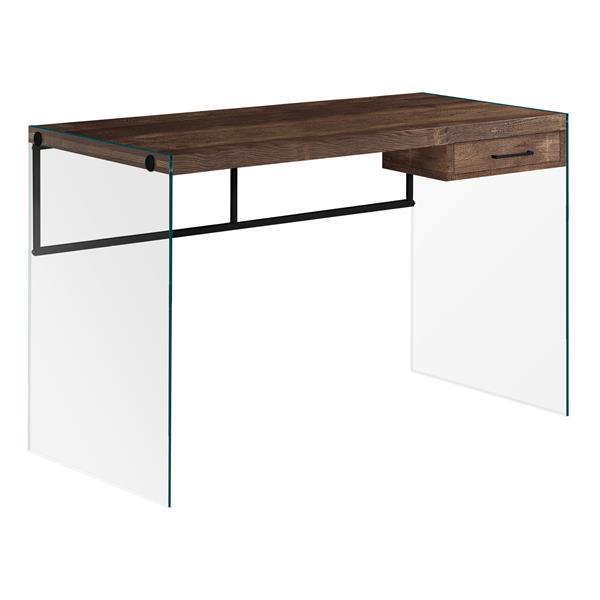 """Bureau de travail avec panneaux de verres, brun, 48""""l"""