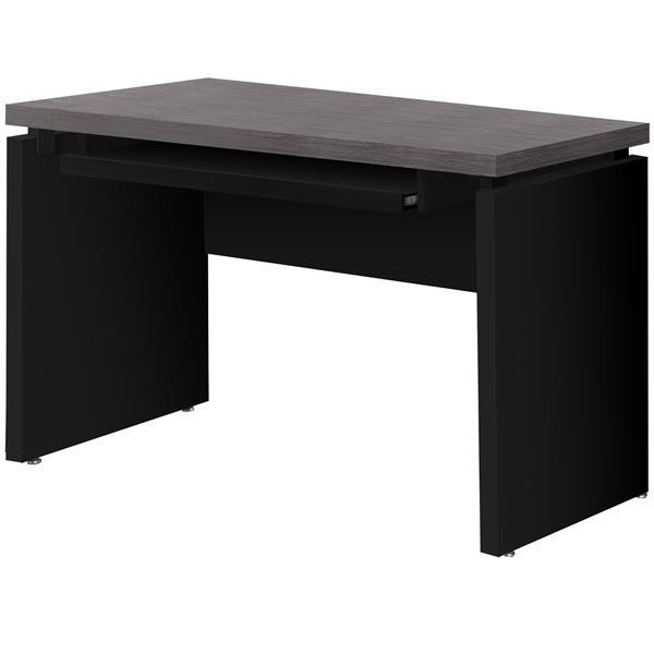 Monarch Computer Desk - Black with Grey Top - 48-in L