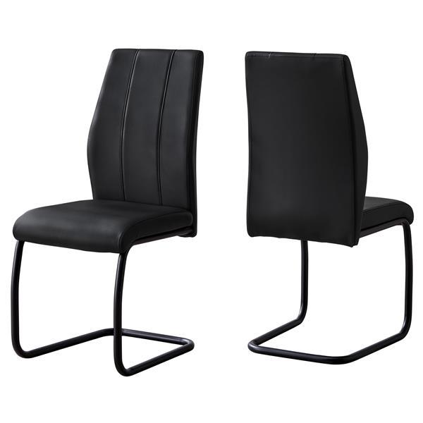 Chaises salle à manger, métal et similicuir noir, 2 mcx