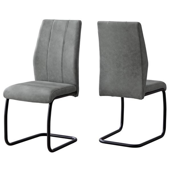 Chaises salle à manger en tissu gris et métal noir, 2 mcx