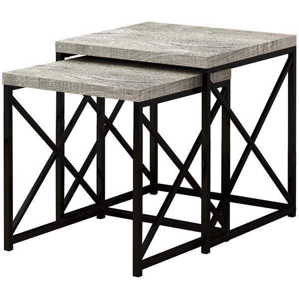 Monarch Nesting Table Grey Reclaimed Wood/Black - 2 Pcs Set