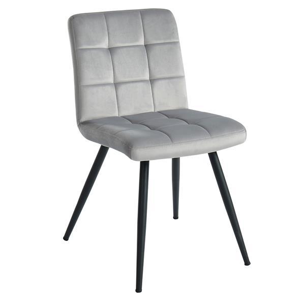 Chaise de salle à manger !nspire, velours gris, 32 po, ens. de 2