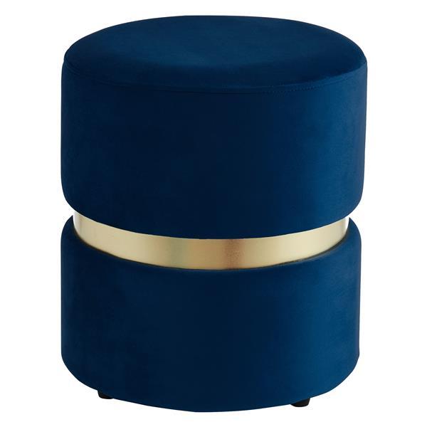 !nspire Round Velvet Ottoman - 14.25-in - Blue/Gold