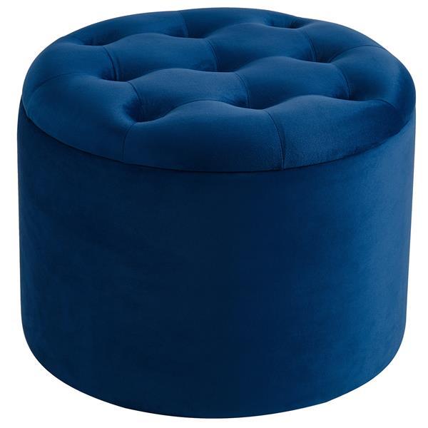 Ottoman !nspire en velours avec rangement, 19,75 po, bleu