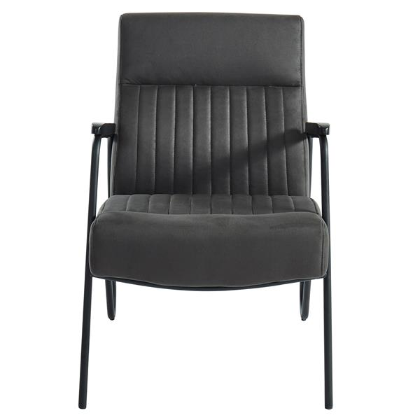 !nspire Vintage Accent Chair - Metal Base - 34.75-in - Dark Grey Faux Suede