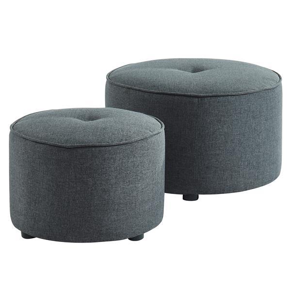 Ottomane / Pouf en tissu gris, ensemble de 2