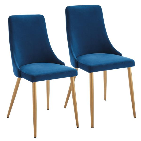 Chaise de salle à manger !nspire, velours bleu royal et structure dorée, 35,75 po, ens. de 2