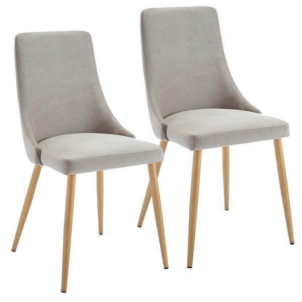Chaise de salle à manger !nspire, velours gris pâle et structure dorée, 35,75 po, ens. de 2