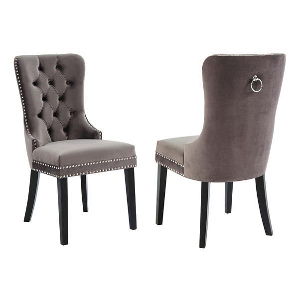 !nspire Velvet Dining Chair - 40-in - Grey/Brown - Set fo 2