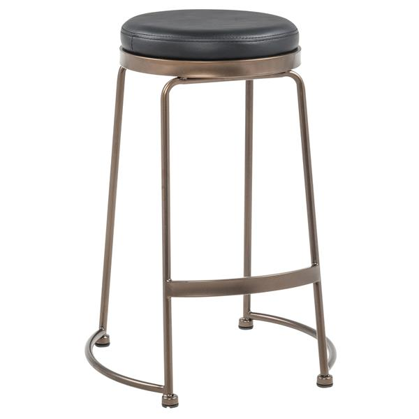 !nspire Faux Leather/Copper Metal Counter Stool - Black - Set of 4