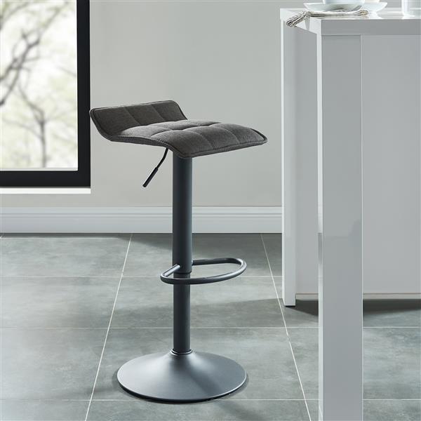 Whi Adjustable Height Fabric Stool Blue Grey Set Of 2