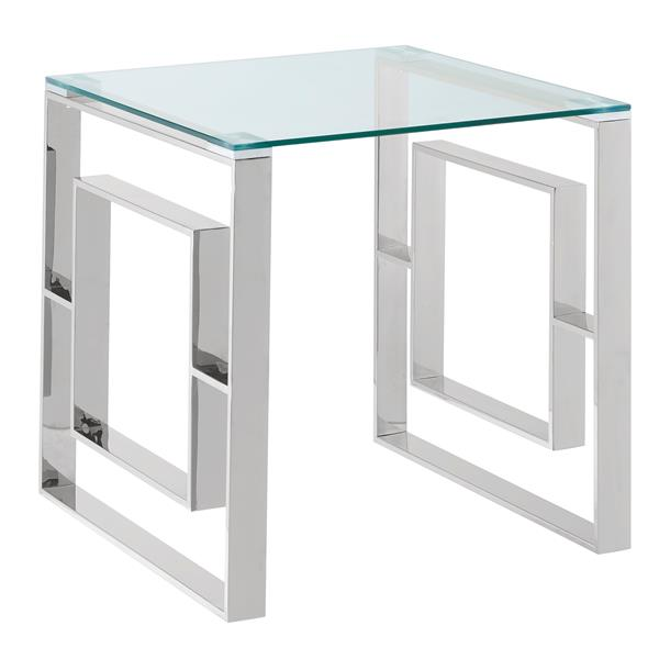 !nspire Stainless Steel Side Table - 21.75-in x 21.75-in - Clear Glass