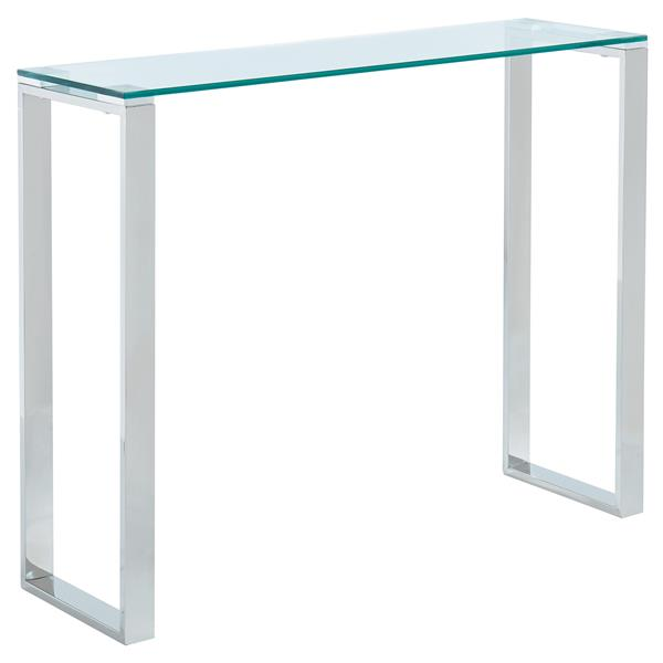 Table console en verre !nspire, 30,75 po x 39,5 po, base chromée