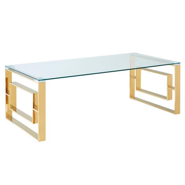 Table basse !nspire, 47,25 po x 15,75 po, verre transparent, base dorée