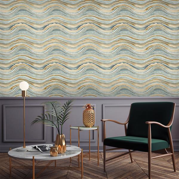 Tempaper Travertine Wallpaper - Aquamarine/Gold - 56 sq. ft.