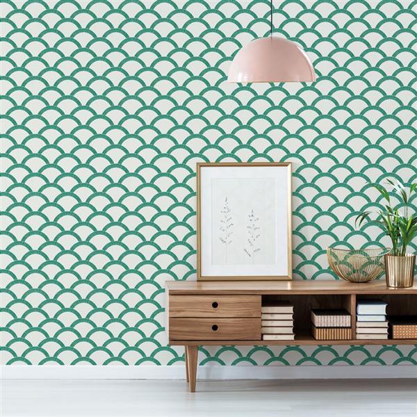 Tempaper Mosaic Scallop Wallpaper - Emerald Green - 56 sq. ft.
