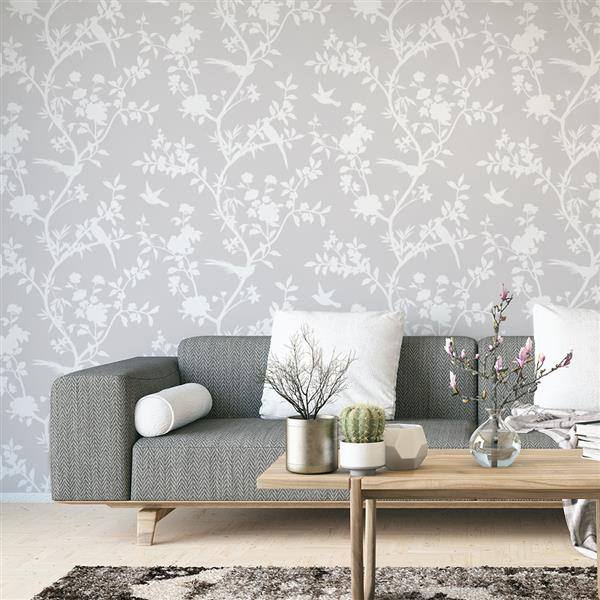 Tempaper Garden Affair Wallpaper - Classic Grey - 56 sq. ft.