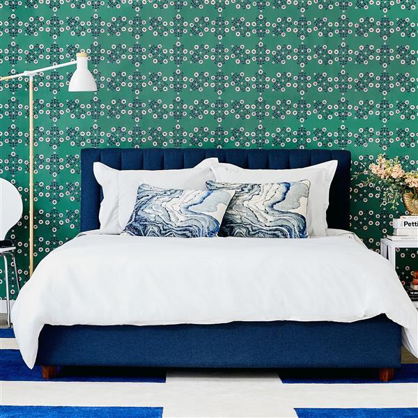 Tempaper Block Print Floral Wallpaper - Emerald - 28 sq. ft.