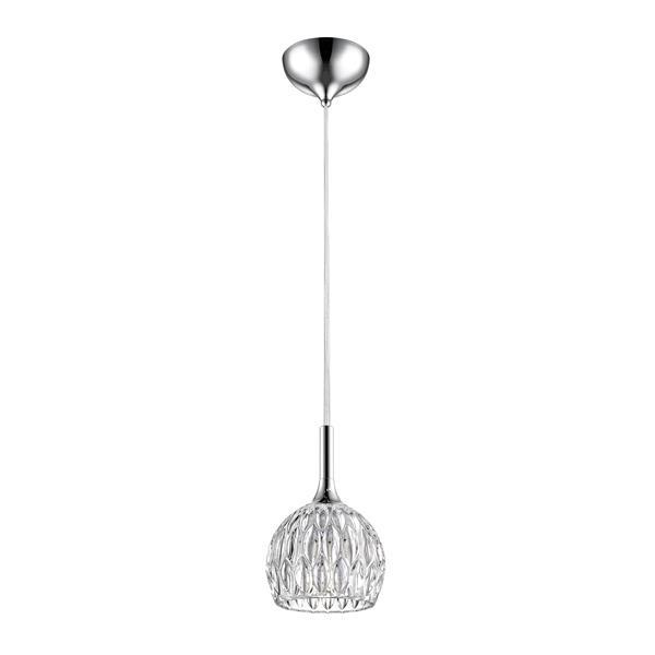 Luminaire suspendue mini à 1 lumière «Laurentien», chrome