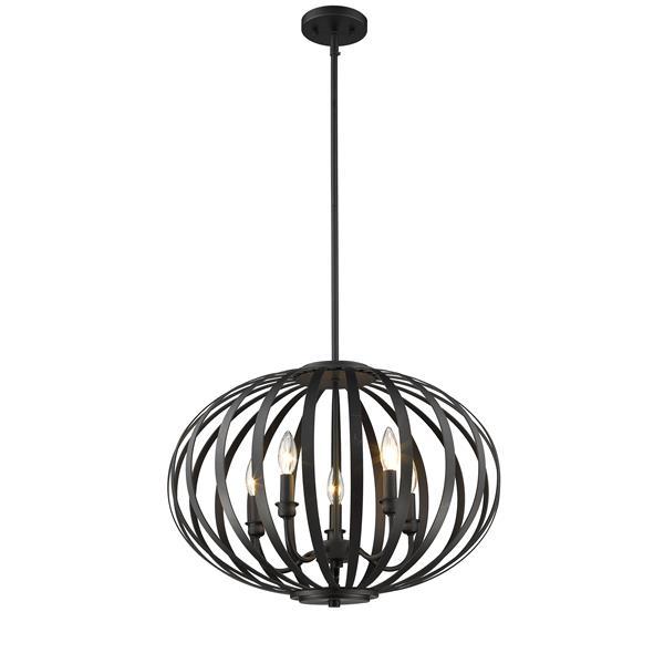 Luminaire suspendue à 5 lumières «Moundou», bronze