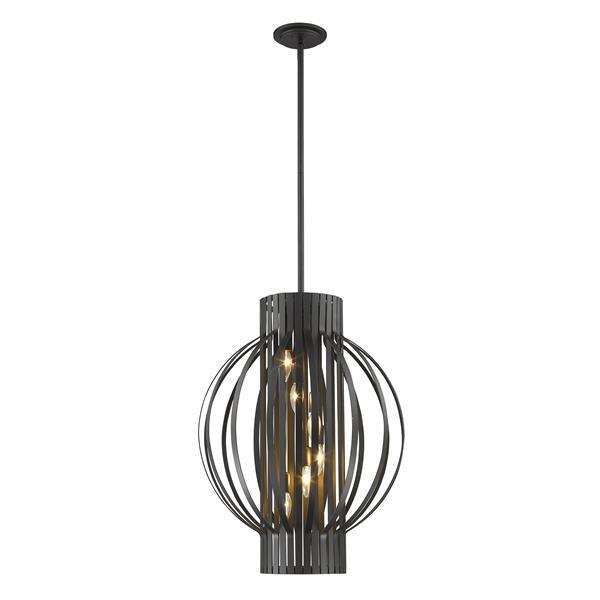 Luminaire suspendue à 6 lumières «Moundou», bronze