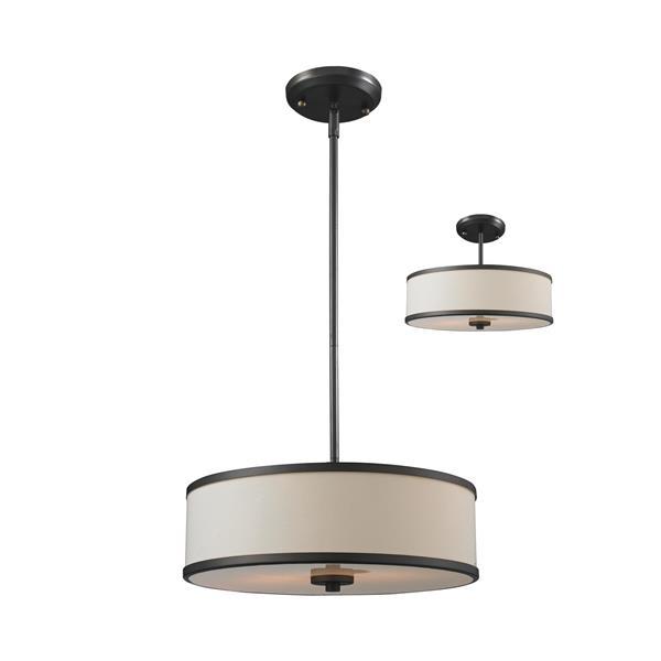 Luminaire suspendue à 3 lumières «Cameo», bronze