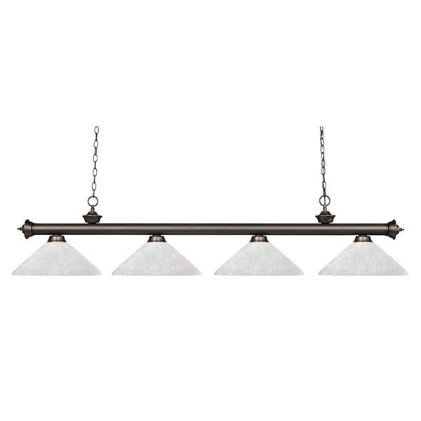 Lumière de billard suspendue à 4 lumières «Riviera», bronze