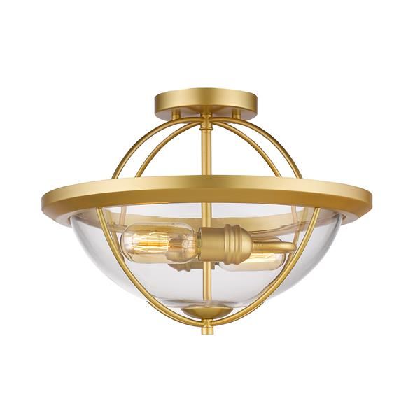 Plafonnier semi-encastré à 2 lumières «Persis», or