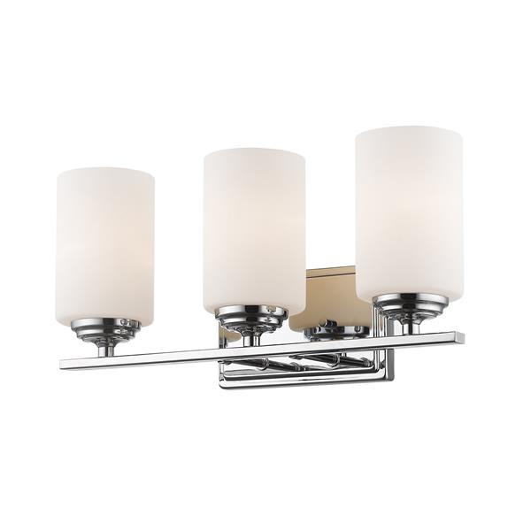 Z-Lite Bordeaux 3-Light Vanity Light - 17.37-in - Metal - Chrome