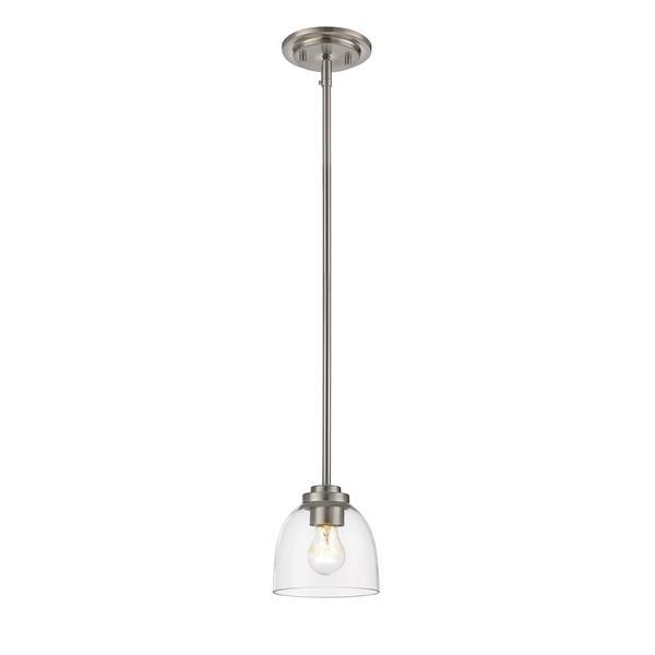 Z-Lite Ashton 1-Light Pendant - 6-in - Glass - Nickel