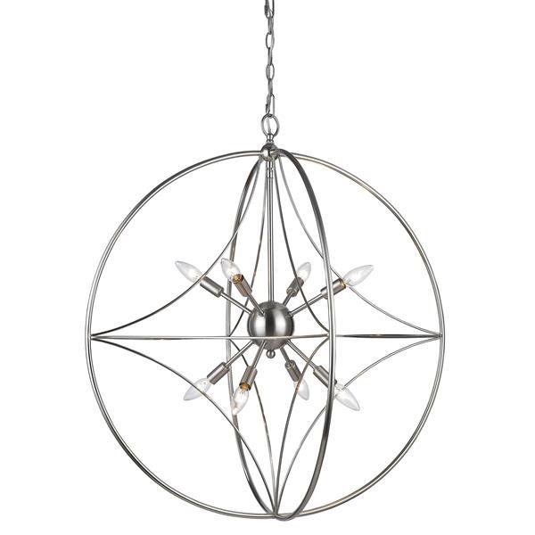 Z-Lite Cortez 8-Light Pendant - 30-in - Metal - Nickel