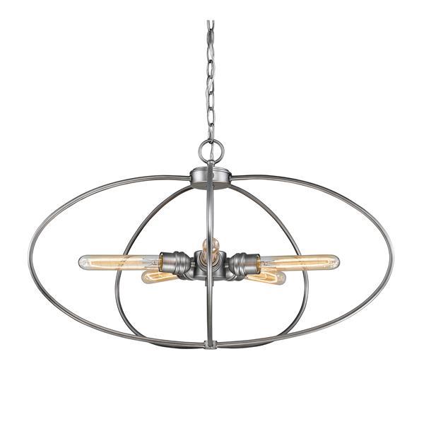 Z-Lite Persis 5-Light Pendant - 28.25-in - Metal - Gray