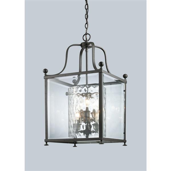 """Suspension Fairview à 6 lumières, 15,5"""", verre, bronze"""