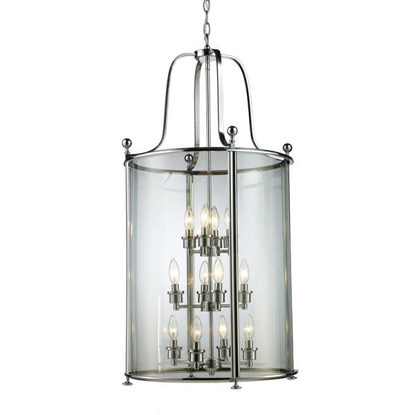 """Suspension Wyndham à 12 lumières, 21,5"""", verre, chrome"""