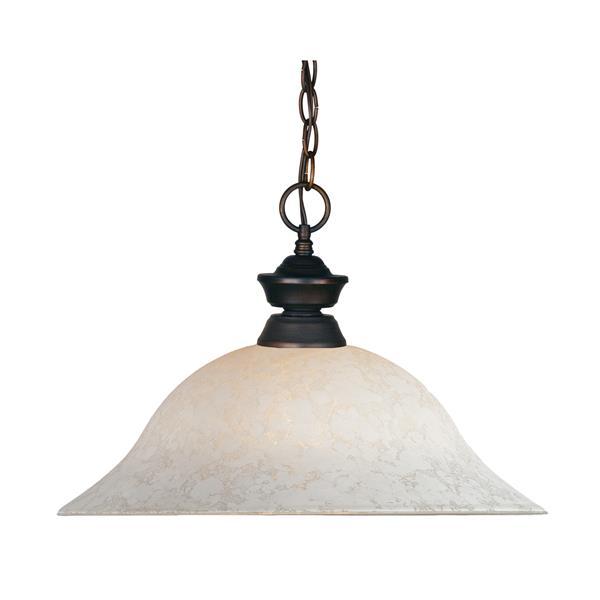 Z-Lite 1-Light Pendant - 16-in - Glass - Bronze