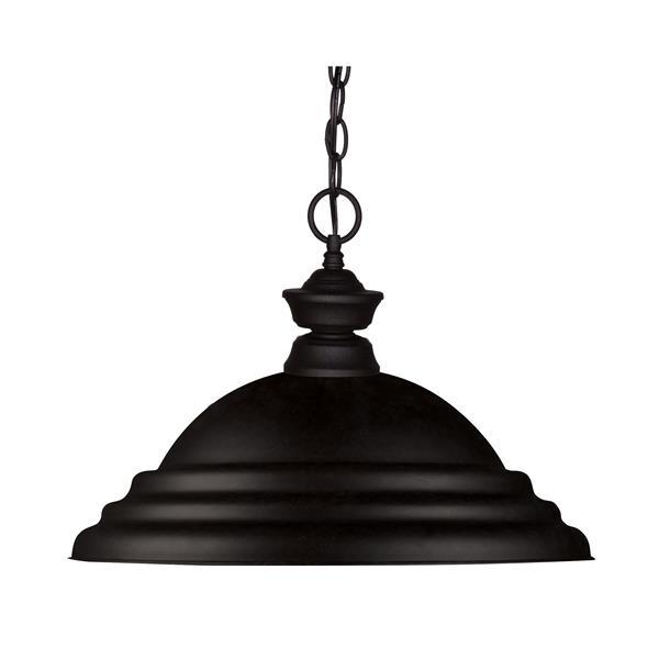 """Luminaire suspendu à 1 lumière, 16"""", métal, noir"""