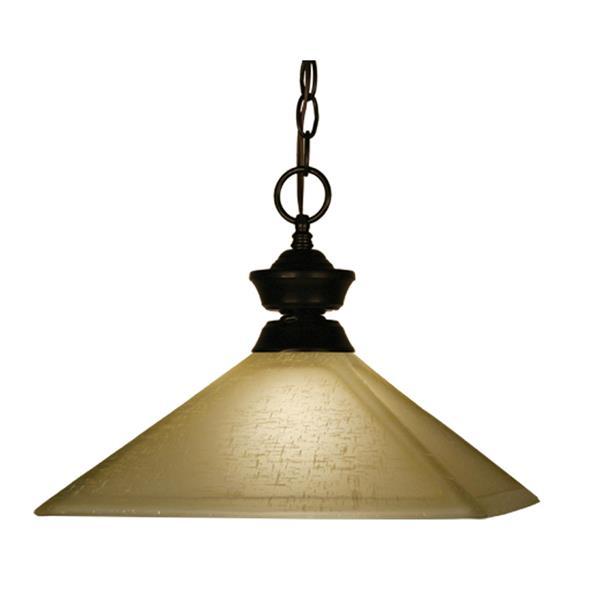 "Luminaire suspendu à 1 lumière, 13"", verre, bronze"