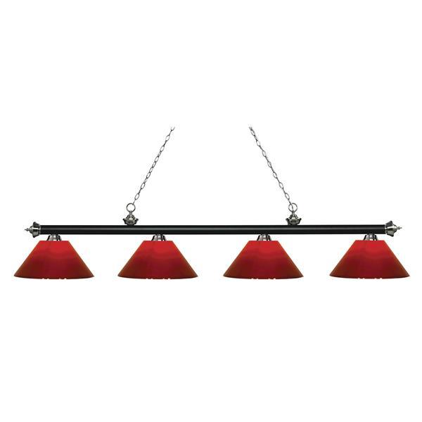 "Luminaire de billard Riviera, 4 lumières, 80,5"", rouge"