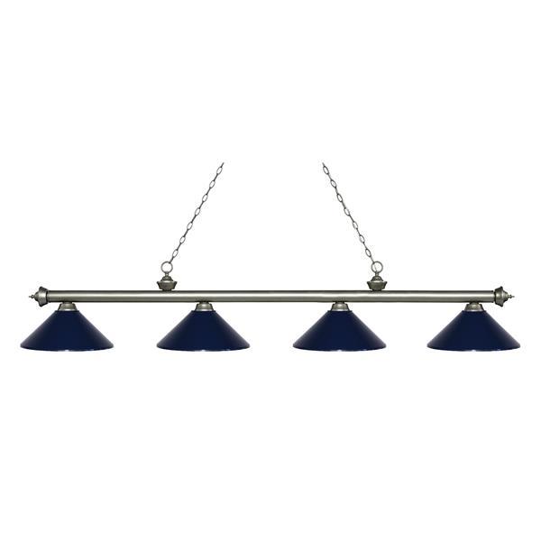 """Luminaire de billard Riviera, 4 lumières, 80,75"""", bleu marin"""