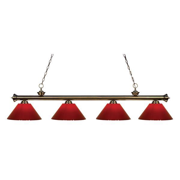 "Luminaire de billard Riviera, 4 lumières, 80"", rouge"