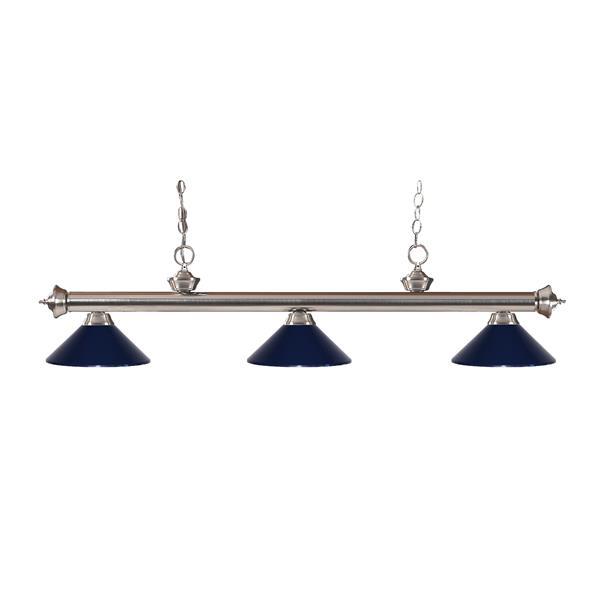 """Luminaire de billard Riviera, 3 lumières, 57"""", bleu marin"""