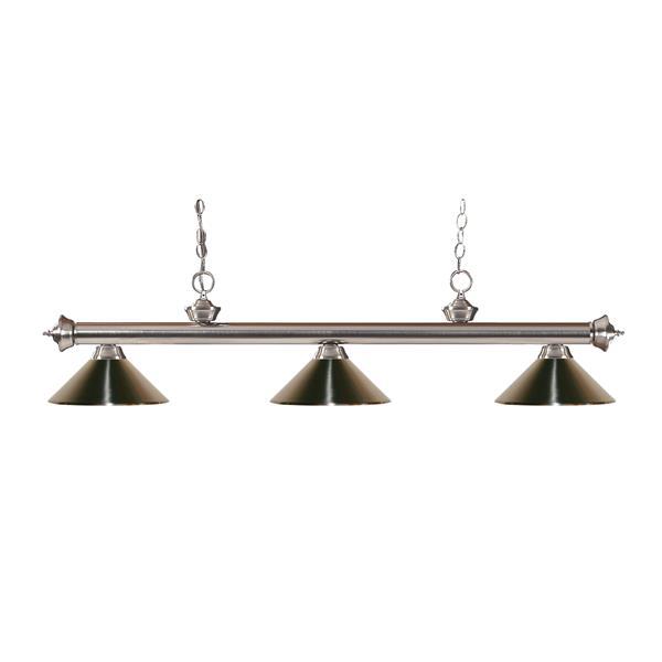 """Luminaire de billard Riviera, 3 lumières, 57"""", métal, nickel"""