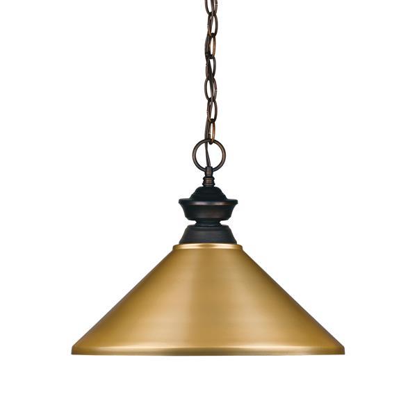 """Luminaire suspendu Riviera, 1 lumière, 16"""", métal, doré"""