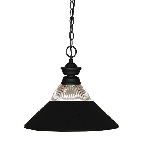 """Luminaire suspendu Shark, 1 lumière, 14,25"""", métal, noir"""